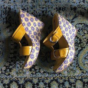 Cute yellow wedge sandals